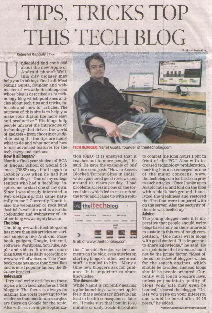 Published in The Times of India, Bhopal. Dated 10th June, 2012.