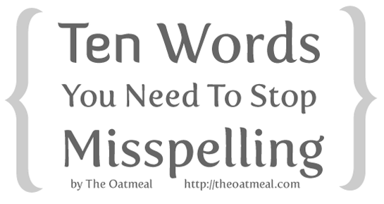 English Words you need to stop Missspelling