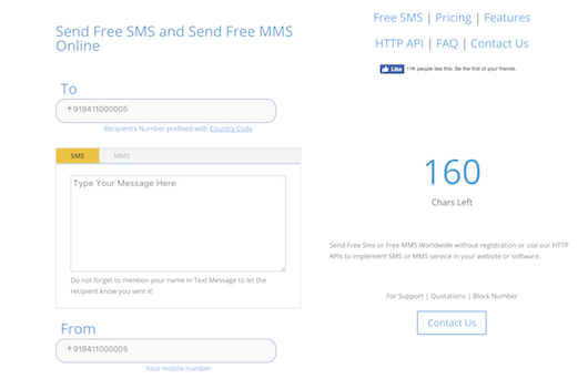Send Free Unlimited 500 Characters SMS to India without