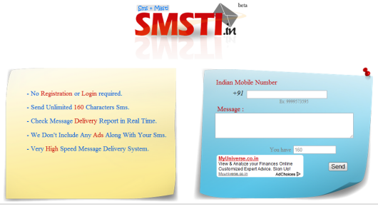 Send Free Unlimited 500 Characters SMS to India without Registration