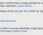 youtube adult video warning